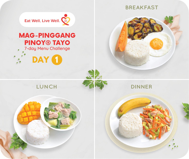 Day 1 Mag-Pinggang Pinoy® Tayo 7-day Menu Challenge