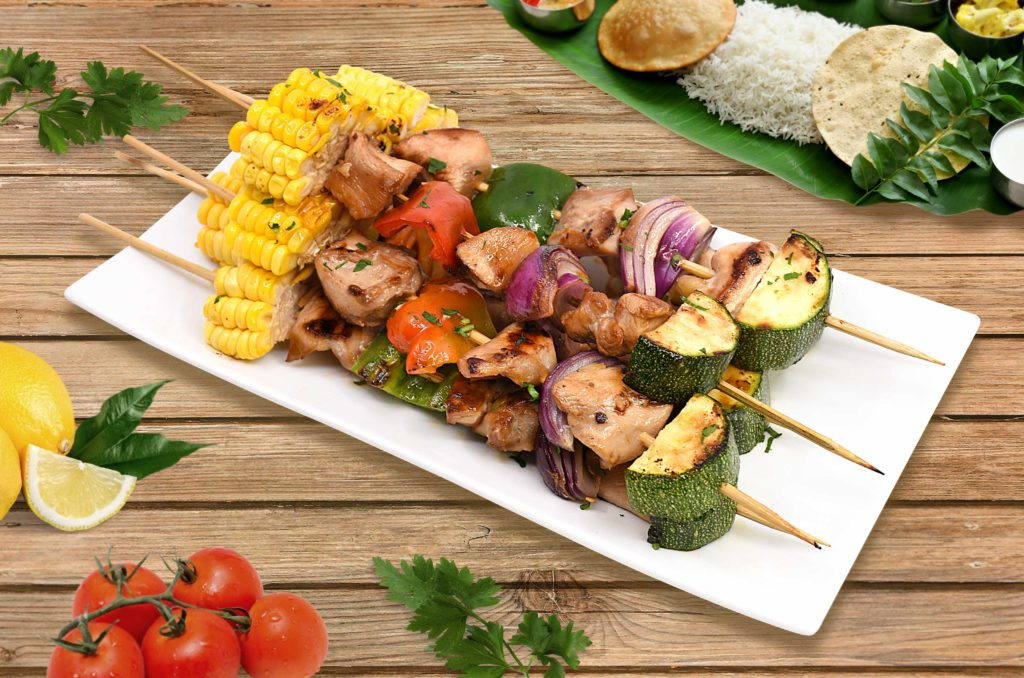 Vegetable-Kebab-with-Grilled-Chicken