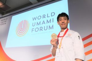 Chef Nick Lee, the winner of the cooking competition at World Umami Forum