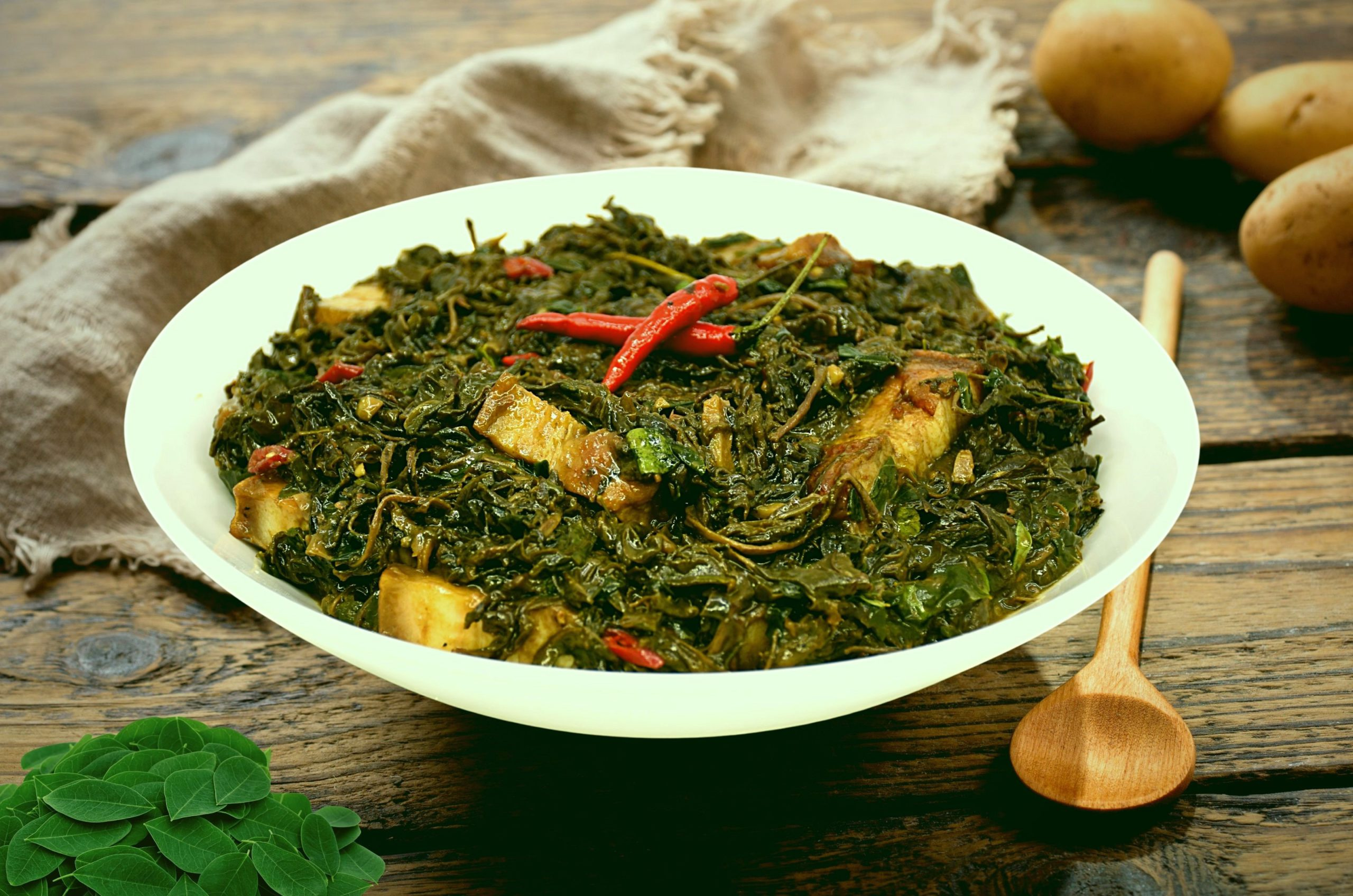Laing with Malunggay Leaves